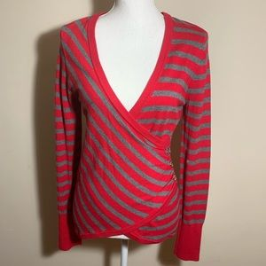 Guess Faux Wrap Sweater Lg